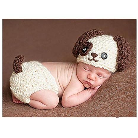 Fashion recién nacido niño niña bebé disfraz fotografía accesorios cachorro  sombrero de pantalones dd88781ca63