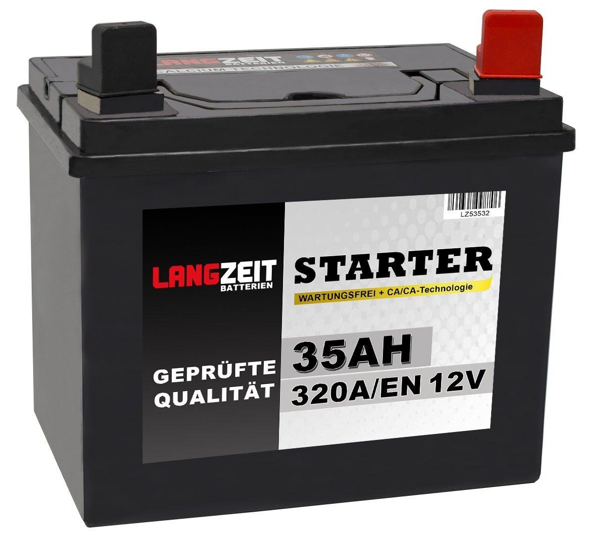Langzeit Batterie 35Ah 12V Rasentraktor Starterbatterie Aufsitzm/äher Rasenm/äher Plus Pol RECHTS statt 26Ah 30Ah 32Ah