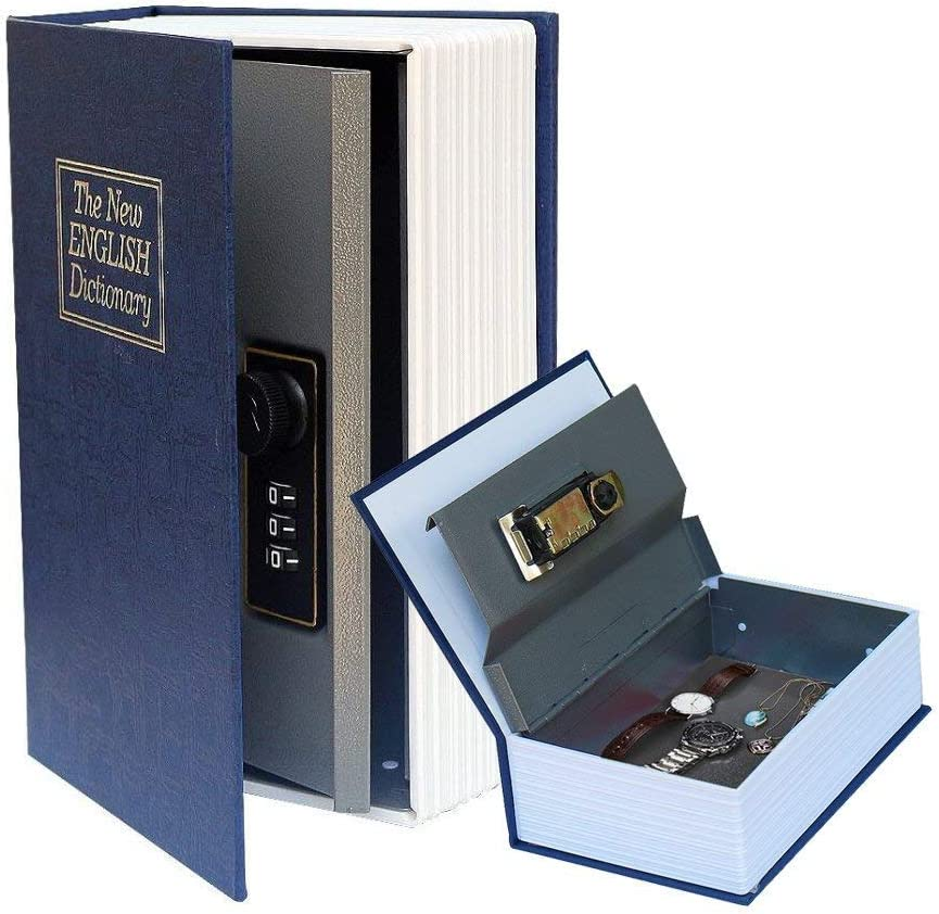 Feadem Combination Lock, Dictionary Hidden Book, Portable Safe Box, with Combination Lock, for Storing Money, Jewelry, Passport
