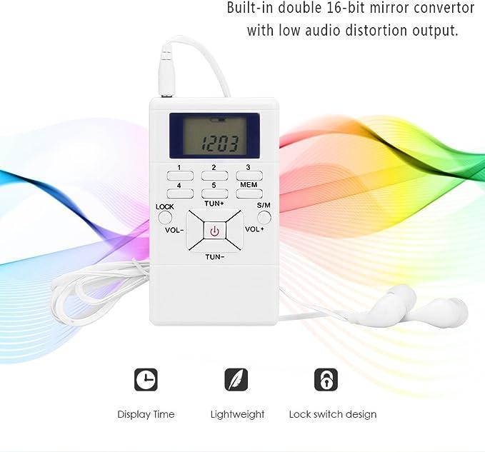Radio de Onda Corta Personal con Auricular y Pantalla LCD para Exteriores y el hogar Negra AOZBZ Radio Digital de Bolsillo Mini Receptor de Radio FM port/átil