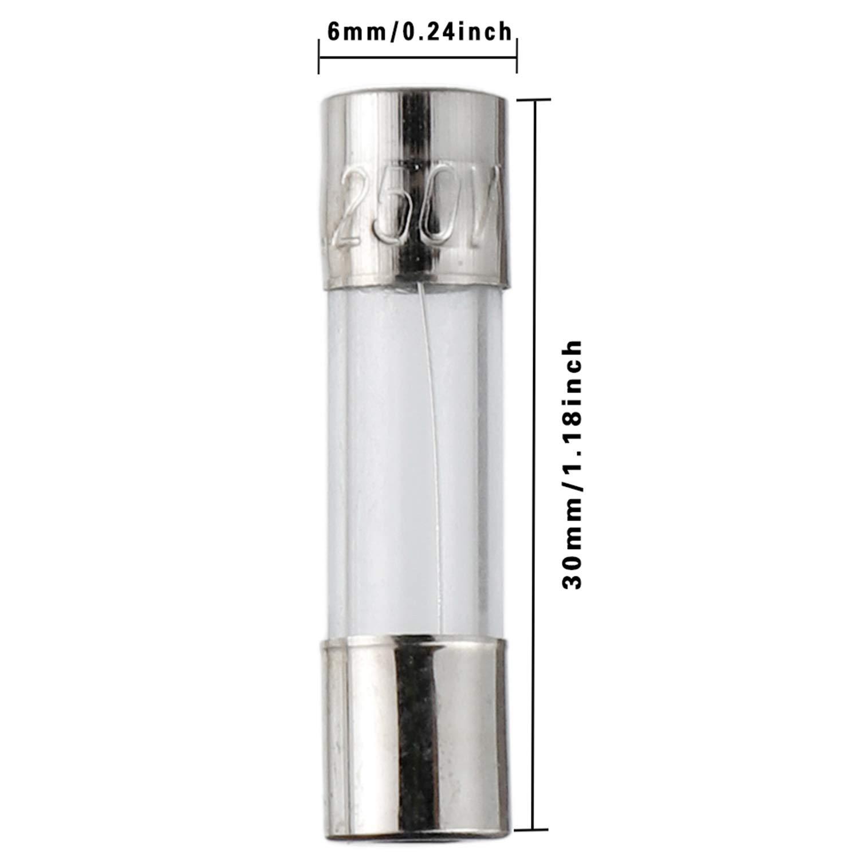 BOJACK T1A250V 6x30 mm 1 A 250 V Fusibles /à fusion lente 1 amp 250 Volt 0,24 x 1,18 pouces Fusibles temporis/és /à tube de verre paquet de 20 pi/èces