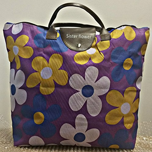 SF-World - Borsa pieghevole da donna per la spesa, da viaggio, da spiaggia, da portare in spalla, stile casual, con design multi-floreale, colore: viola
