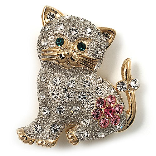 Avalaya Two Tone Crystal Cat Brooch
