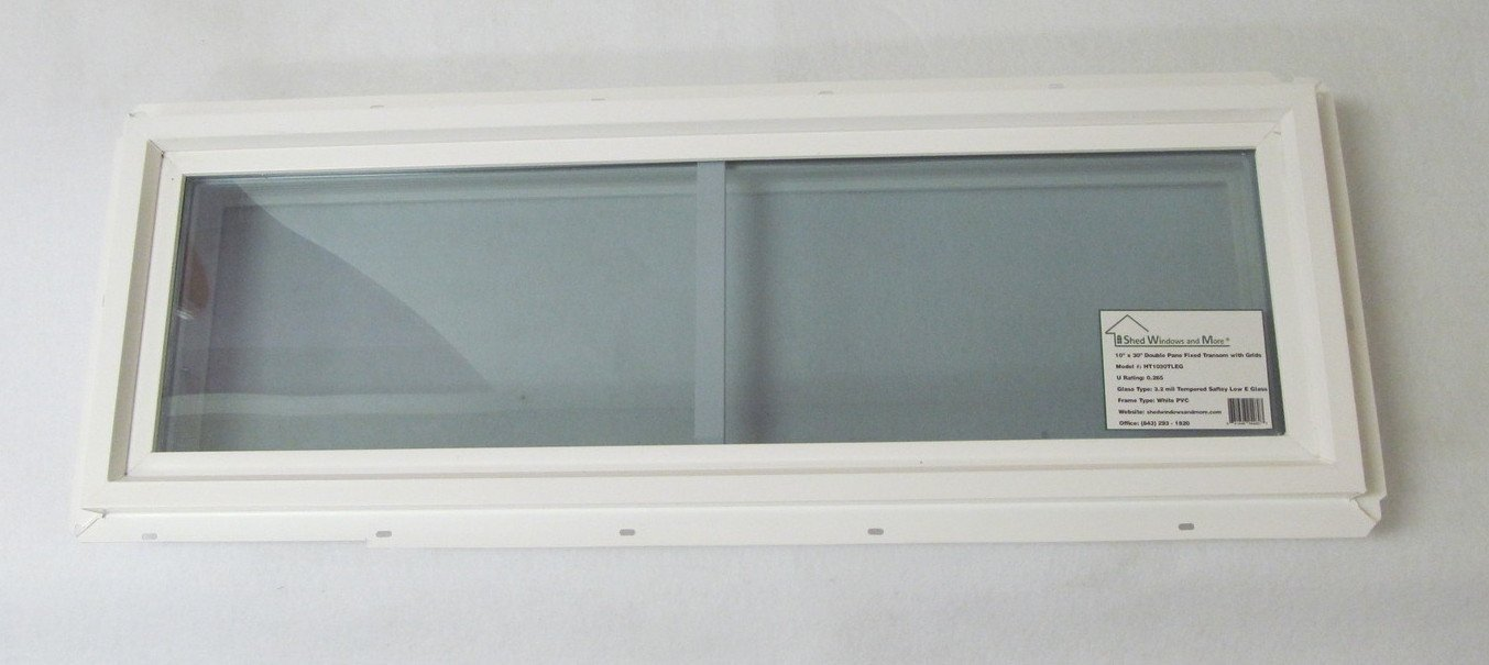 Transom Window 10'' x 30'' Double Pane Low E Tempered Glass with Grids