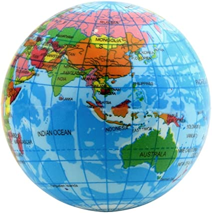 World Map Foam Earth Globe Stress Relief Bouncy Ball Atlas Geography on map earth's, map of the world, world globe, printable globe, topographic map, mappa mundi, thematic map, map of the volcano,