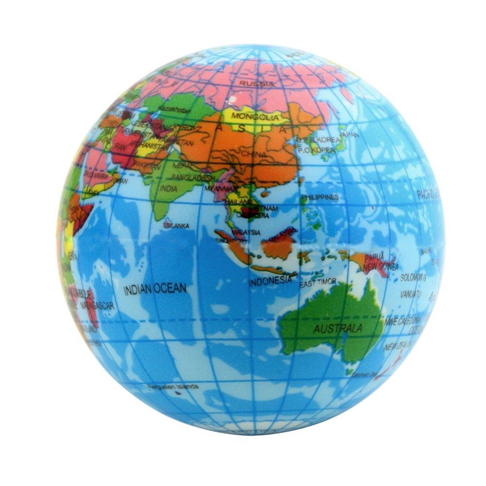 2.36 Inch Dpower World Map Foam Earth Globe Stress Relief Bouncy Ball Atlas Geography Toy