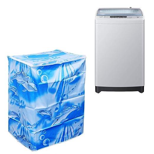 LIOOBO Funda para Lavadora Carga Superior y Secadora automática Cubierta a Prueba de Polvo Impermeable con Cremallera 55 × 58 × 87 cm (Ola)