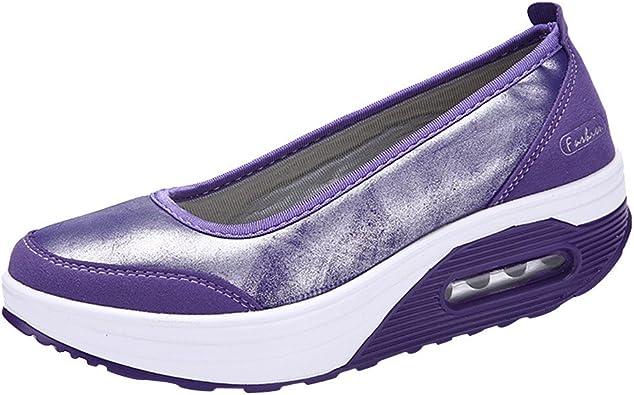 ZOELOVE Zapatillas de Running para Mujer Correr Zapatillas de Deporte de Verano Gimnasio Ligeras Calzado Sencillo cómodo Boca Baja Cojín de Aire de PU Aumento del Fondo más Grueso/Púrpura,39: Amazon.es: Zapatos y