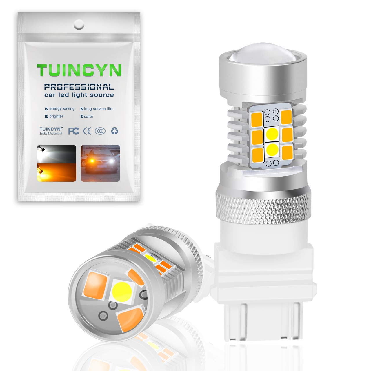 TUINCYN 3157 Switchback LED Turn Signals Bulb Extremely Bright 3156 3155 3457 3057 4057 2835 21 SMD Amber-Off-Amber-Off Car Tail Brake Light 2-Pack