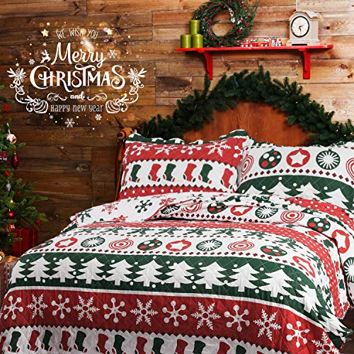 Bedsure Christmas Bedding Quilts Set Decoration Printed Bedspread Full/Queen Size 86×96 Patchwork Coverlet Ideas for Kids Red Green and White Home Decor
