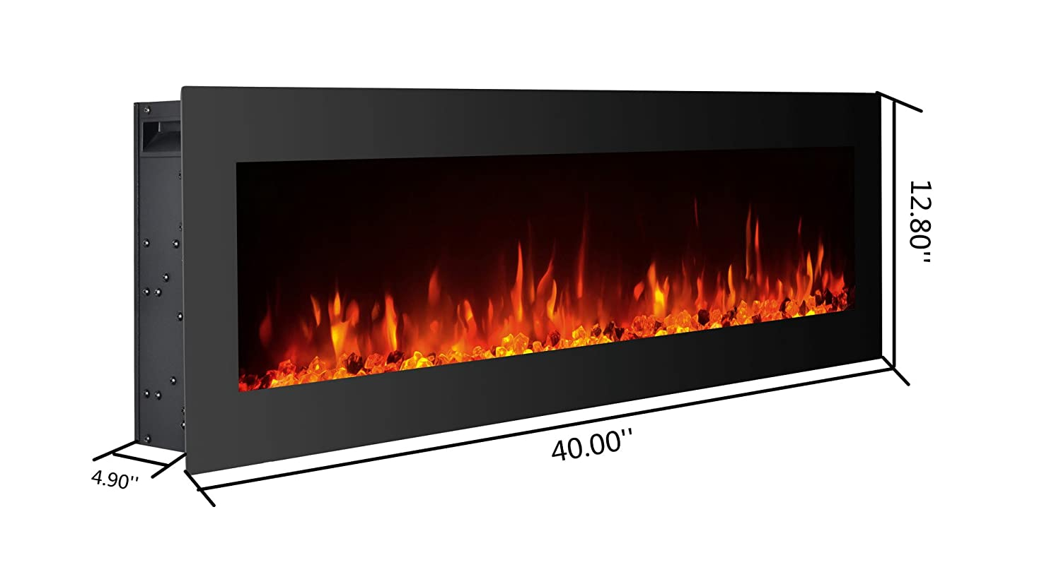 "Amazon.com: GMHome 40"" Electric Fireplace Wall Mounted Freestanding Heater  Crystal Stone Flame Effect 9 Changeable Color Fireplace, w/Remote,  1500/750W, ..."