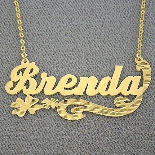 9c0b21cb4597c Amazon.com: Personalized Name Necklace Diamond Cut Fancy Flower ...