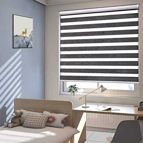 TANZUOER Cordless Zebra Roller Shades Free-Stop Dual Layer Roller Blinds Light Controlling