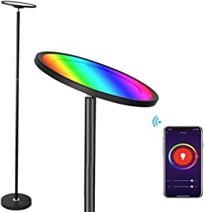 BRIMAX Floor Lamp Works with Alexa Google Home, 2000LM/25W Super Bright RGBW Smart WiFi LED Floor Lamp, Dimmable Color Changing Torchiere Standing Lamp for Living Room Bedroom Office, DIY Scenes