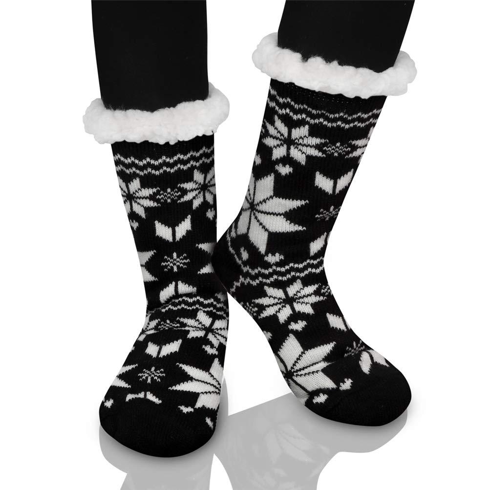 Calcetines de Navidad, Invierno Mujer Gruesos Lana Calcetines Térmicos de Piso Antideslizantes Calcetines de Casa Chicas Interior Regalo de Navidad EU 36-39 ...