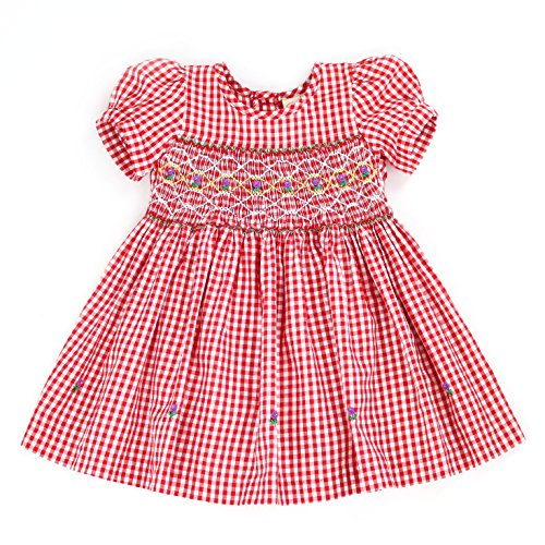sissymini - Infant and Toddlers Hand Smocked Dress | Remy Redmond's Plaid in Red (12-18M) -