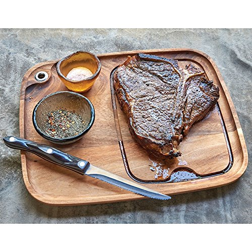 Ironwood Gourmet 11x13 Wood Steak Serving Plate.