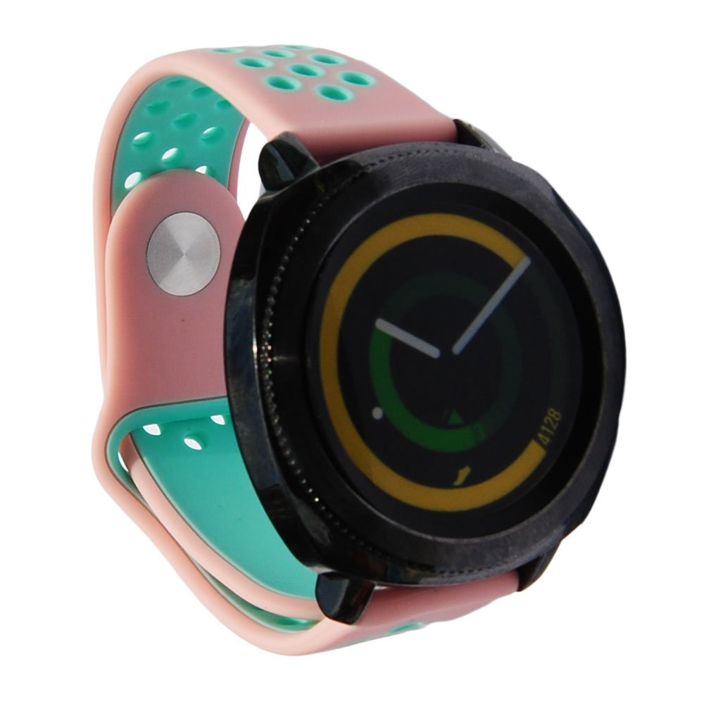 20mm Silicone Breathable Strap for Vivoactive 3 Vivomove HR Gear S2 Classic R732 Ticwatch E Samsung Gear Sport Rubber Band (Pink-Mint)