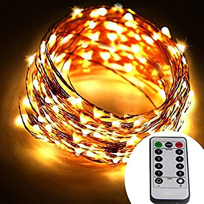 Dreamworth 40 Ft 240 LED's Copper Wire Lights,Remote Battery Operated LED String Lights 8 lighting Mode Waterproof with 13 Key Remote Control For Christmas Holiday, Wedding, Parties(Warm White)