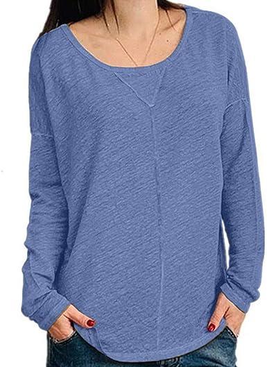 OPAKY Camisas Mujer Manga Larga de Cuello Redondo Casual Blusas Tops del Camisetas Otoño Mujer Cuello Redondo Camiseta Casual Manga Larga Camisetas Mujer Blusa Basic: Amazon.es: Ropa y accesorios