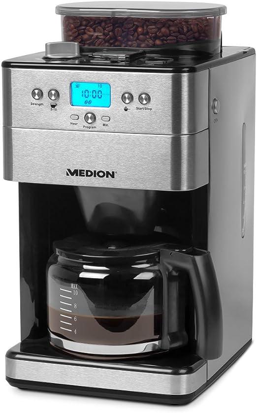 Medion MD 16893 Cafetera con molinillo, 1000 W, 1.25 litros, Acero Inoxidable, Plateado: Amazon.es: Hogar
