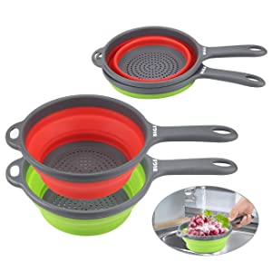 Collapsible Colander Sets - 2 Kitchen Silicone Collapsible Strainer with Handles, Space-Saver Folding Strainer Colander,Perfect for Draining Pasta,Vegetable, 2 quart - Dishwasher Safe (Green&Red)