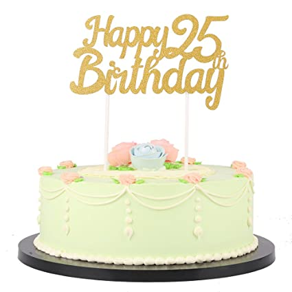 Amazon LXZS BH Gold Glitter Happy Birthday Cake TopperParty