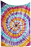 Amitus Exports TM Premium Quality 1 X Indian Hand Tie Dye Multi Tie Dye Color Size 78''X52'' (Approx.) Inches Indian Mandala Tapestry Thin Cotton Fabric Throws (Handmade In India)