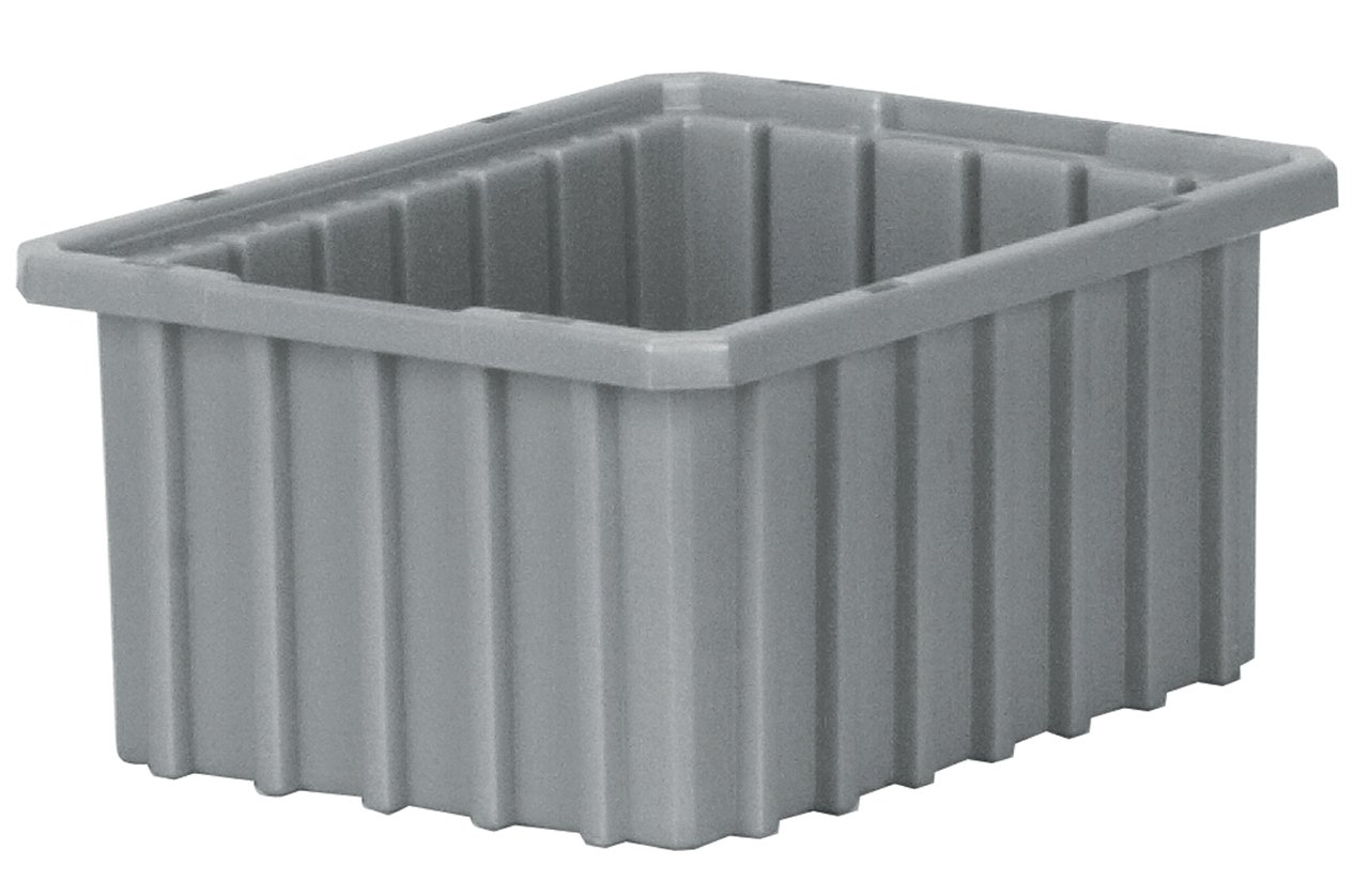 Akro-Mils 33105 Akro-Grid Slotted Divider Plastic Tote Box, 10-7/8 -Inch Length by 8-1/4-Inch Width by 5-Inch Height, Case of 20, Grey