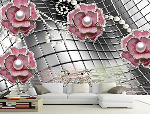 Lwcx Customize Wallpaper For Walls 3 D Metal Texture Background Jewel Flower 3D Wall Murals