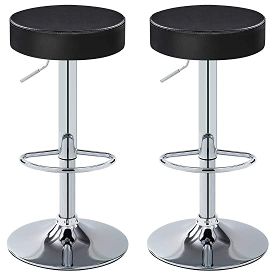 Duhome Bar Stool Adjustable Swivel PU Leather Seat Kitchen Counter Height Contemporary Barstools Chair Set of 2 410B-7 Black