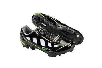 Ges Manufacturas S.A. MTB Rider Zapatillas, Unisex, Negro Brillo/Verde Fluo, 37