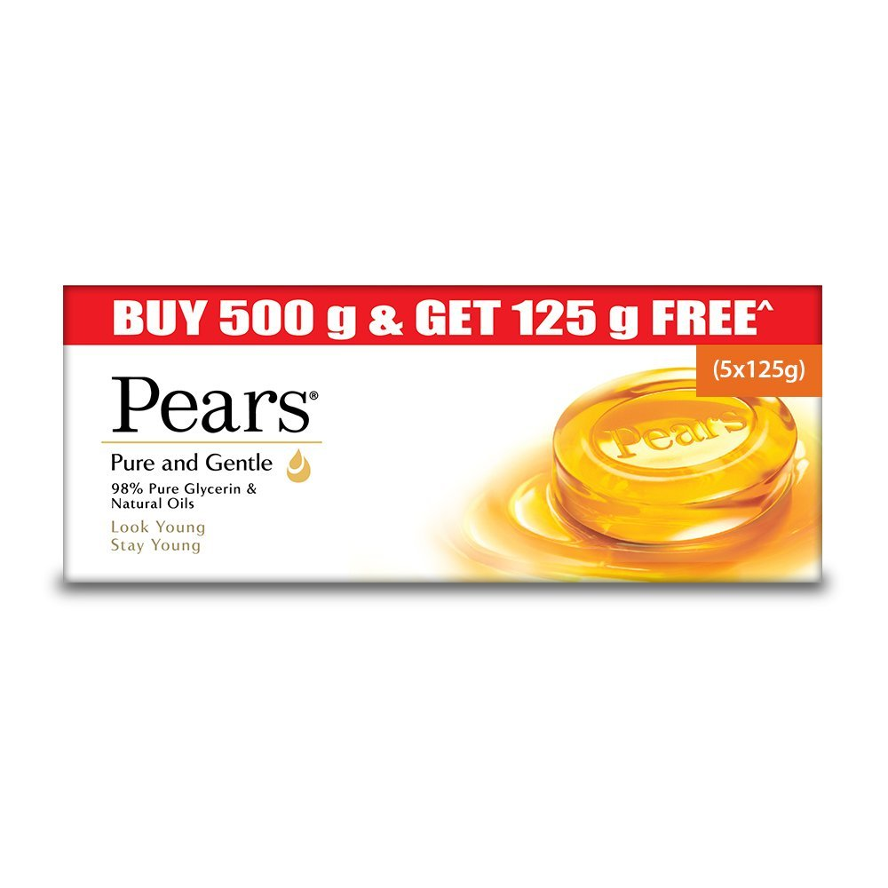 Pears Pure and Gentle Bathing Bar, 125g (Buy 4 Get 1 Free)