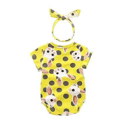 Yoyo bebé recién nacido bebé niña dibujos animados conejo patrón de impresión parte Traje Overall ärmellos