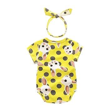 Yoyo bebé recién nacido bebé niña dibujos animados conejo patrón de impresión parte Traje Overall ärmellos Pelele Jumpsuit + Headband amarillo amarillo ...