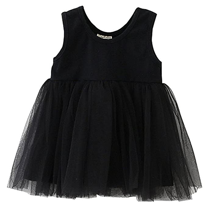 f799035177f0 Kids Baby Toddler Girls Sleeveless Cotton Tulle Dress Party Tutu Sundress 6-12  Month Black