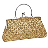 BMC Womens Elegant Scale Pattern Tiny Bead Encrusted Clutch Evening Bag