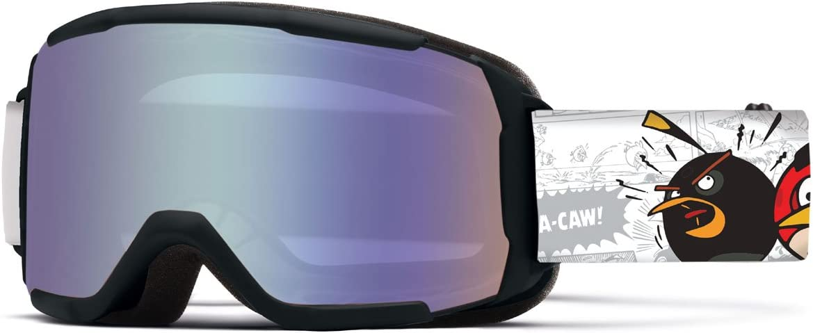 Smith Optics Daredevil Junior Series Youth Snocross Snowmobile Goggles Eyewear – Black Angry Birds Blue Sensor Medium Large