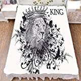 iPrint Bed Skirt Cover 3D Print,Symbol of Courage Safari Animal Lion Grunge Design,Fashion Personality Customization adds Color to Your Bedroom. by 90.5''x96.5''