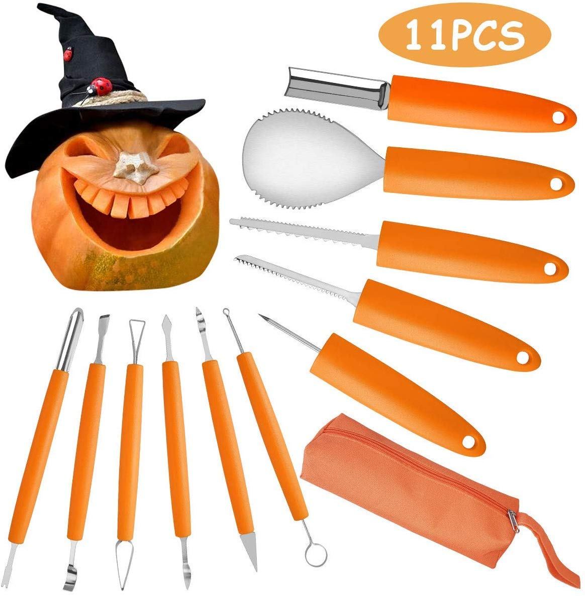 Pumpkin Carving Kit 11 Pieces stainless Steel Pumpkin Tools For Halloween Creative Carving by Cuts, Scoops, Scrapers, Saws, Loops by Danmo