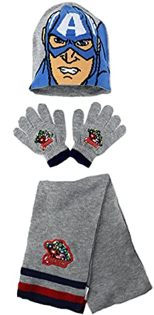 cd9104ada85ce Marvel The Avengers Kids Winter Hat Scarf and Gloves Set (Captain America -  Grey)  Amazon.co.uk  Clothing
