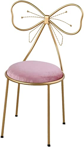 Dressing Table Makeup Chair Ms Bedroom Dressing Chair Butterfly Tie Nail Stool Gold Lounge Chair Armchair Furniture 87CM,Lightpinkflannel