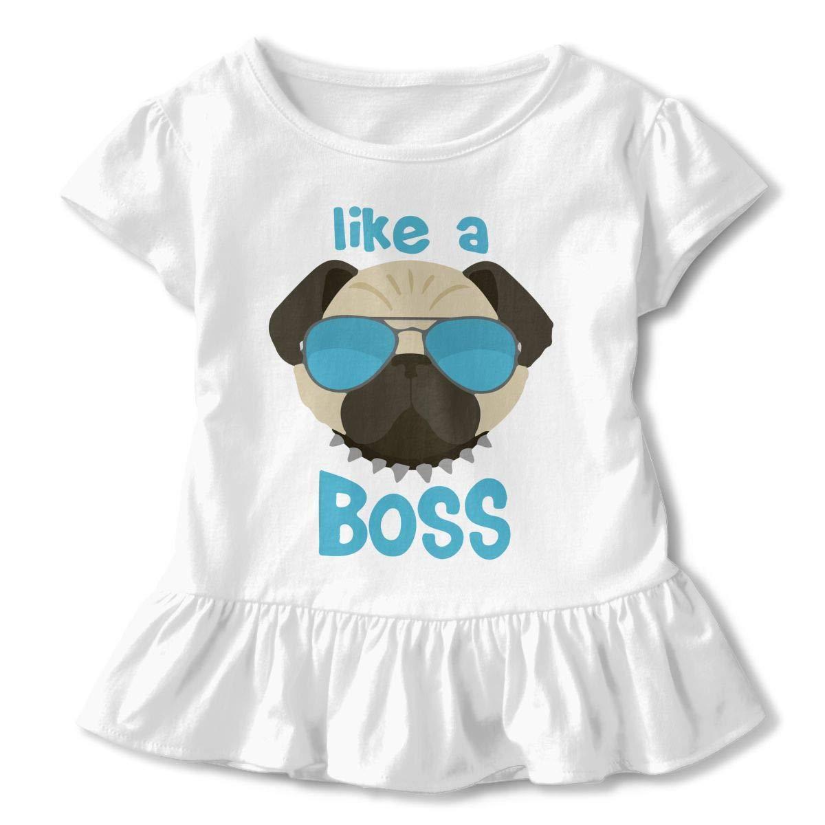 Like A Boss Pug Gifts Toddler Girls T Shirt Kids Cotton Short Sleeve Ruffle Tee