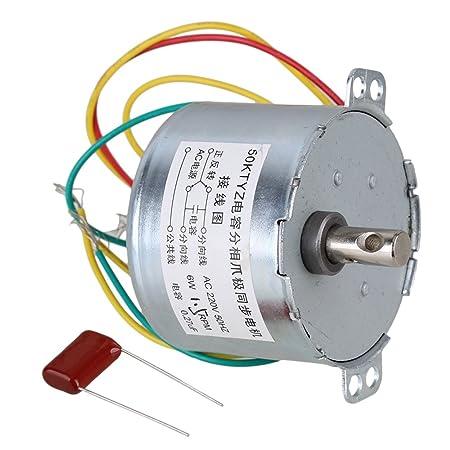 Silver Gear 50KTYZ AC Synchronous Motor 220V 16.7RPM 6W Small Electric Motor