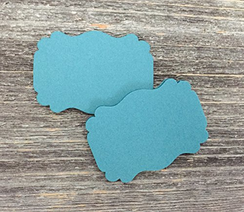 50 Blank Teal Scalloped Edge Bracket Hang Party Wedding Baby Gift Tags Tag