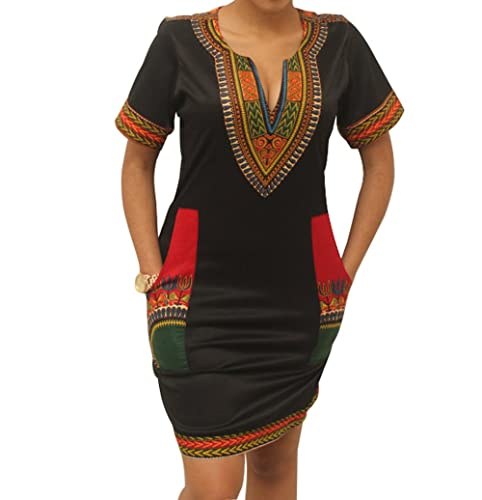 shekiss Women Sexy African Print V-neck Dashiki Bodycon Stretch Club Dress