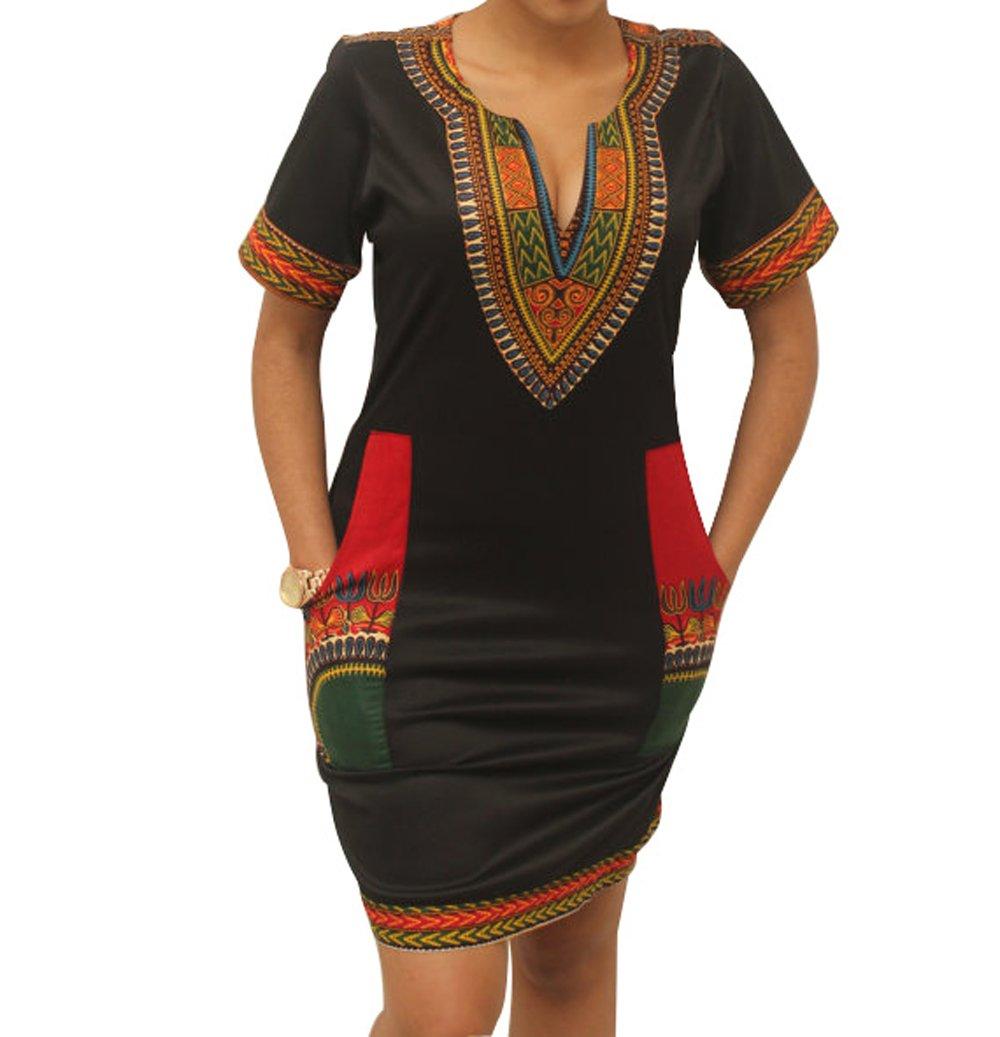 shekiss Womens Bohemian Bodycon Dashiki African Vintage Print Sexy V-Neck Club Midi Dress Black/Red  Large