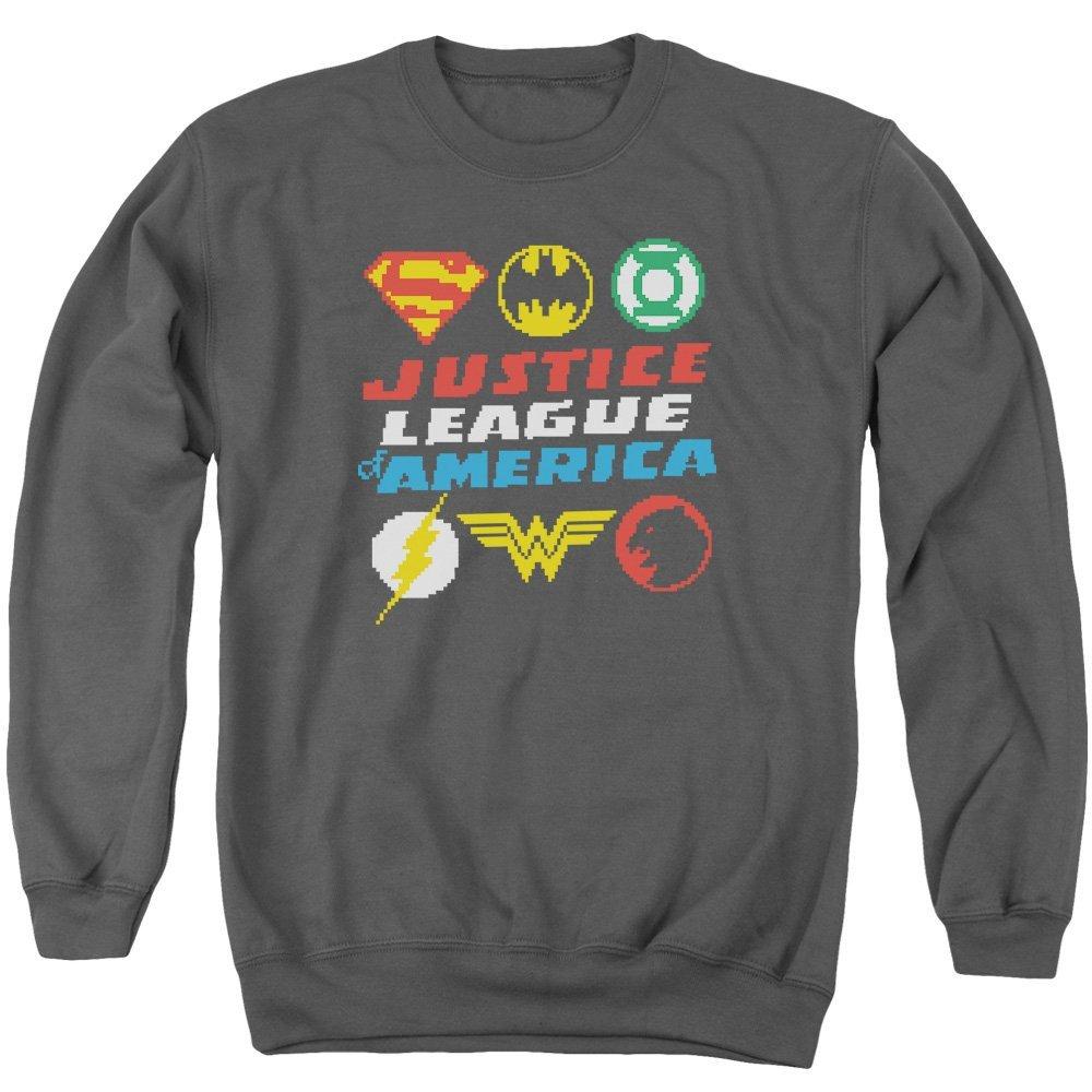 Pixel Logos Adult Crewneck Sweatshirt Justice League of America