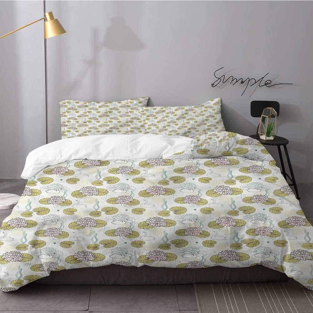 alisoso Swan Bed Sheets Set Water Lilies Algae Hearts Bed Sheets and Comforter Set Queen Size(90x90 inches)