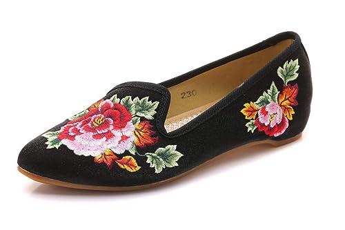 Bordado Zapatos/Alpargatas/ Merceditas/Bailarinas Bordadas del Zapato del Zapato del Peony del Viento Chino: Amazon.es: Zapatos y complementos